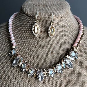 Jolie collar necklace and crystal drop earring set